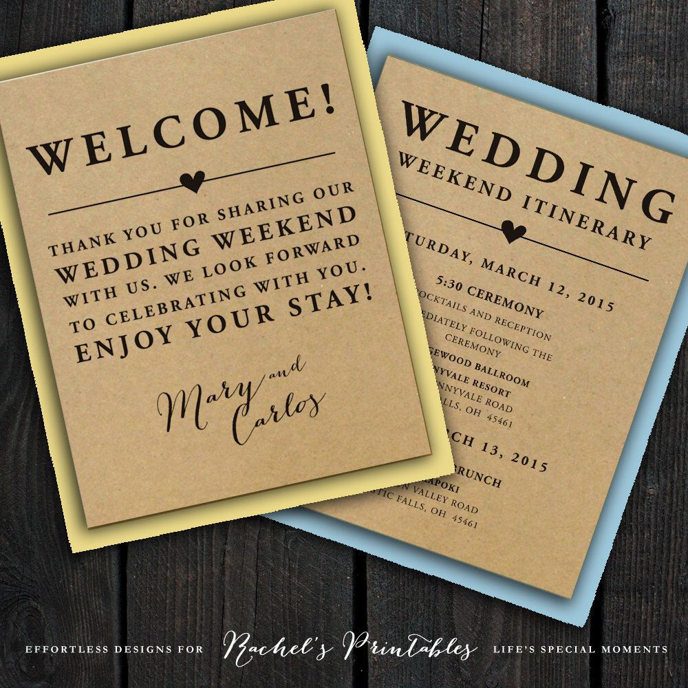 002 Unforgettable Wedding Welcome Bag Letter Template Photo  FreeFull