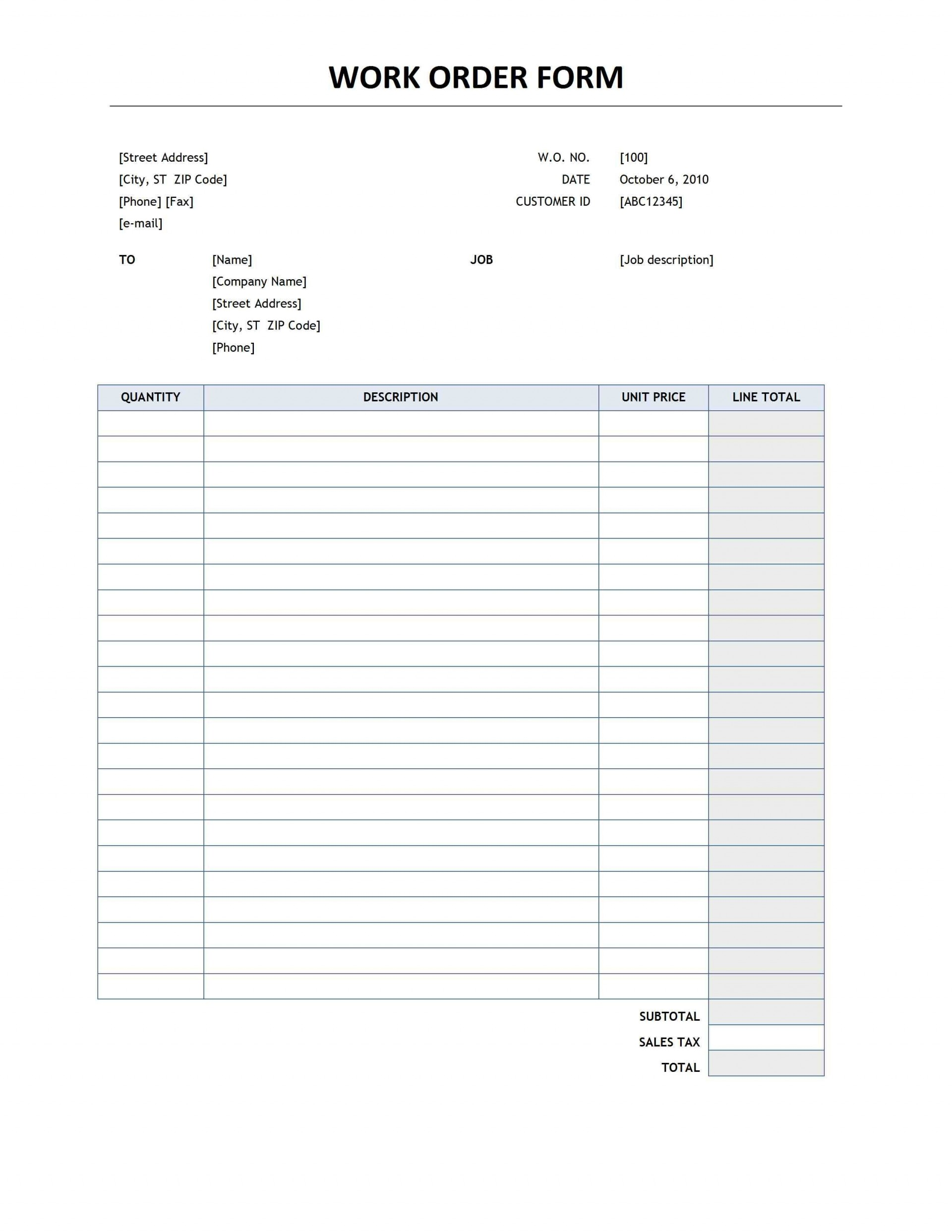 002 Unforgettable Work Order Template Free Image  Automotive Auto Printable Request1920