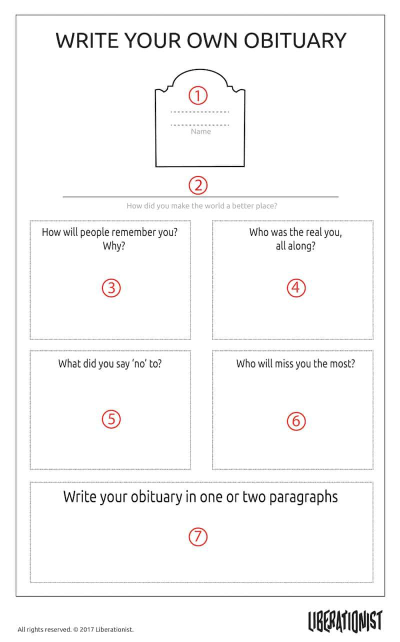 002 Unforgettable Write Your Own Obituary Template High Resolution Full