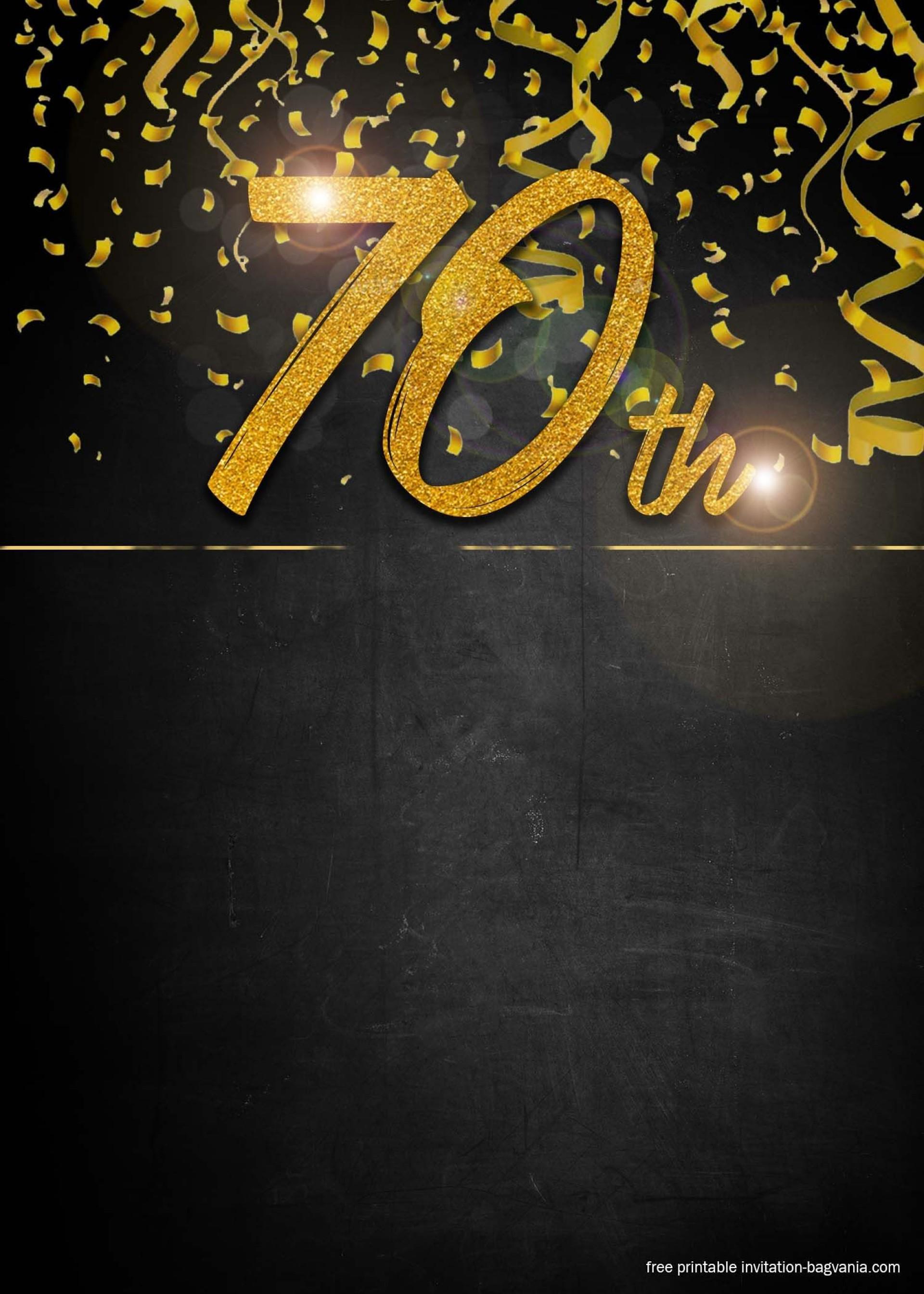 002 Unique 70th Birthday Invitation Template Free Image  Surprise Invite With Photo1920
