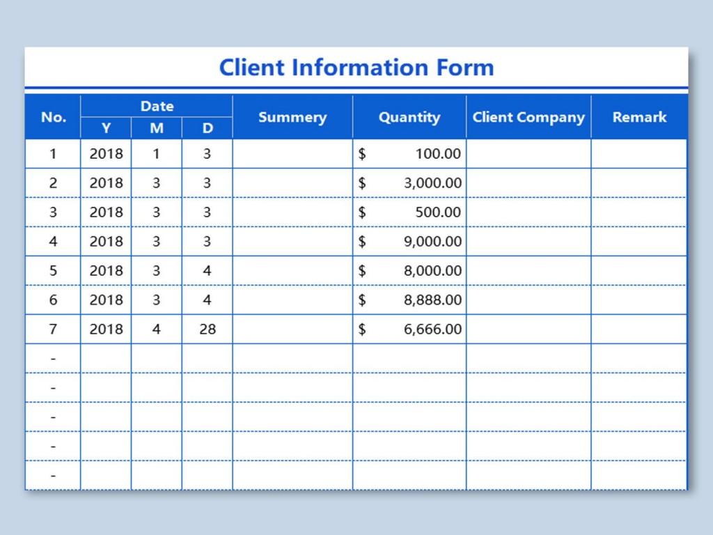 002 Unique Client Information Form Template Free Download Design Large