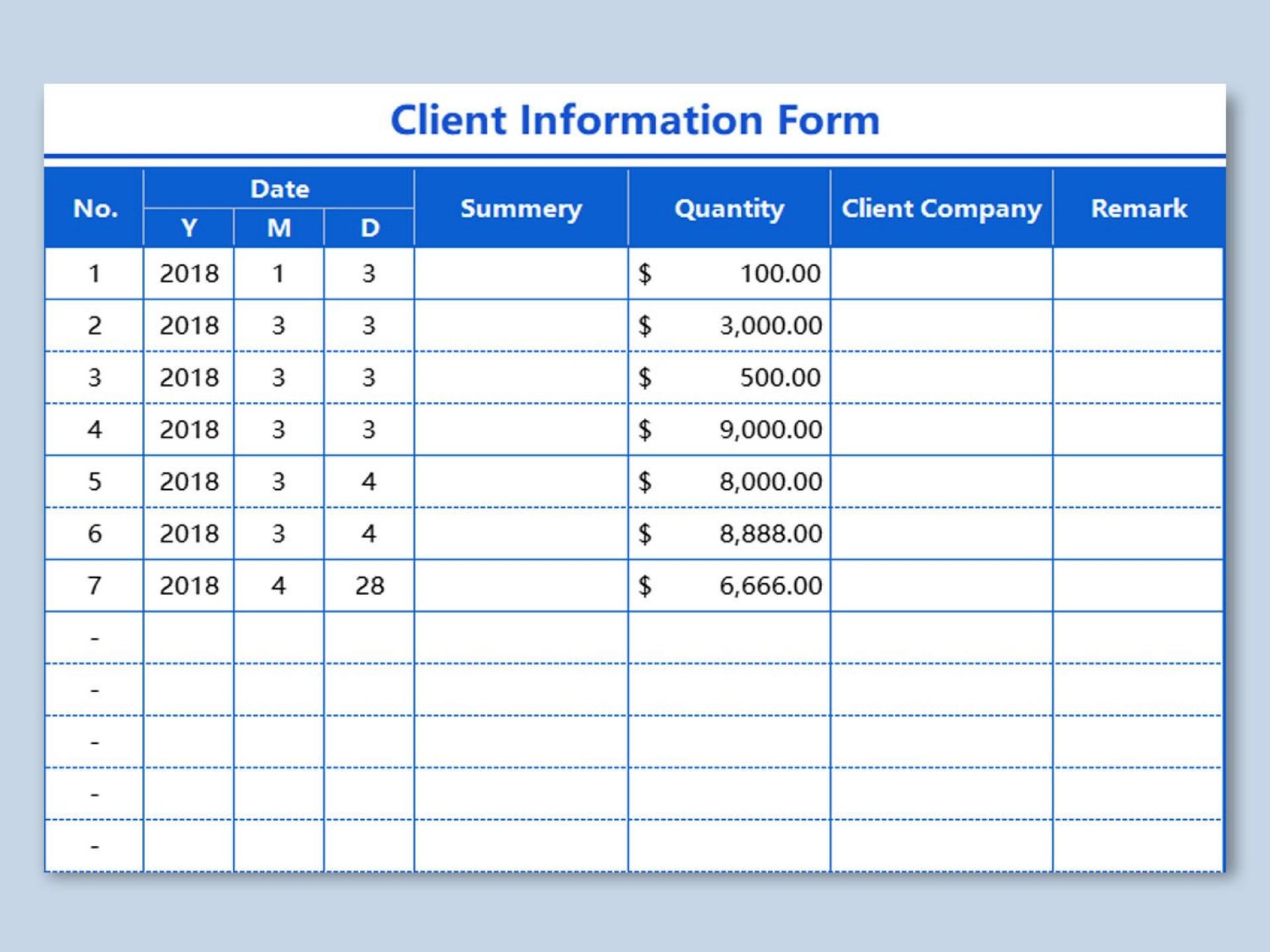 002 Unique Client Information Form Template Free Download Design 1920
