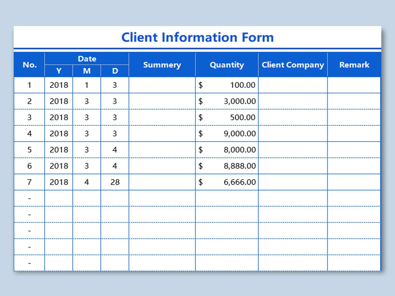 002 Unique Client Information Form Template Free Download Design Full