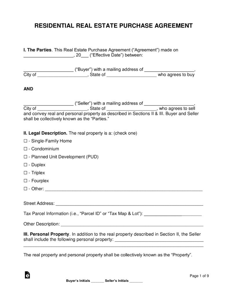002 Unique Free Home Purchase Contract Template Inspiration Full