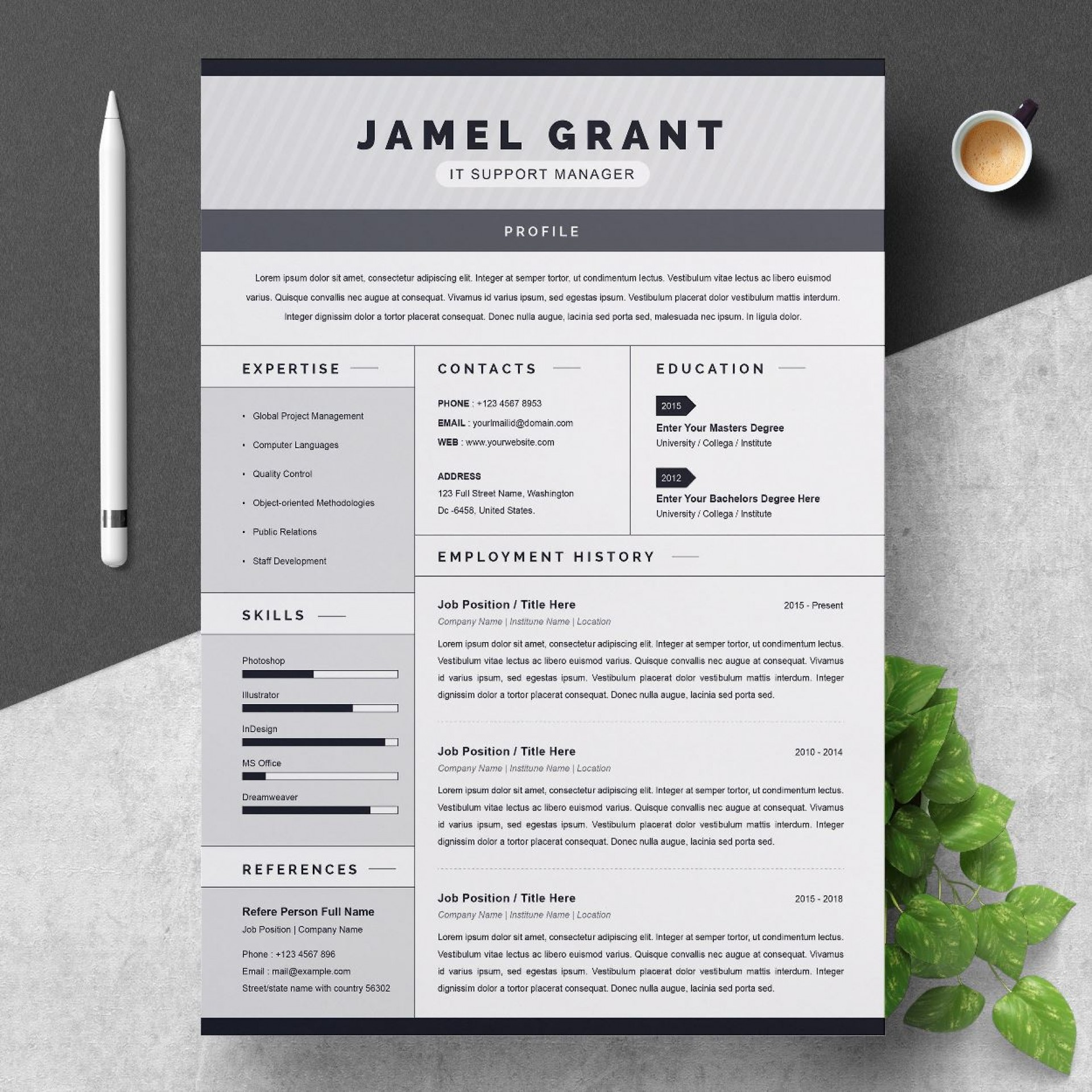 002 Unique Free One Page Resume Template High Resolution  Word Download 2018 Best1920