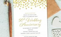 002 Unique Golden Wedding Anniversary Invitation Template Free Design  50th Microsoft Word Download