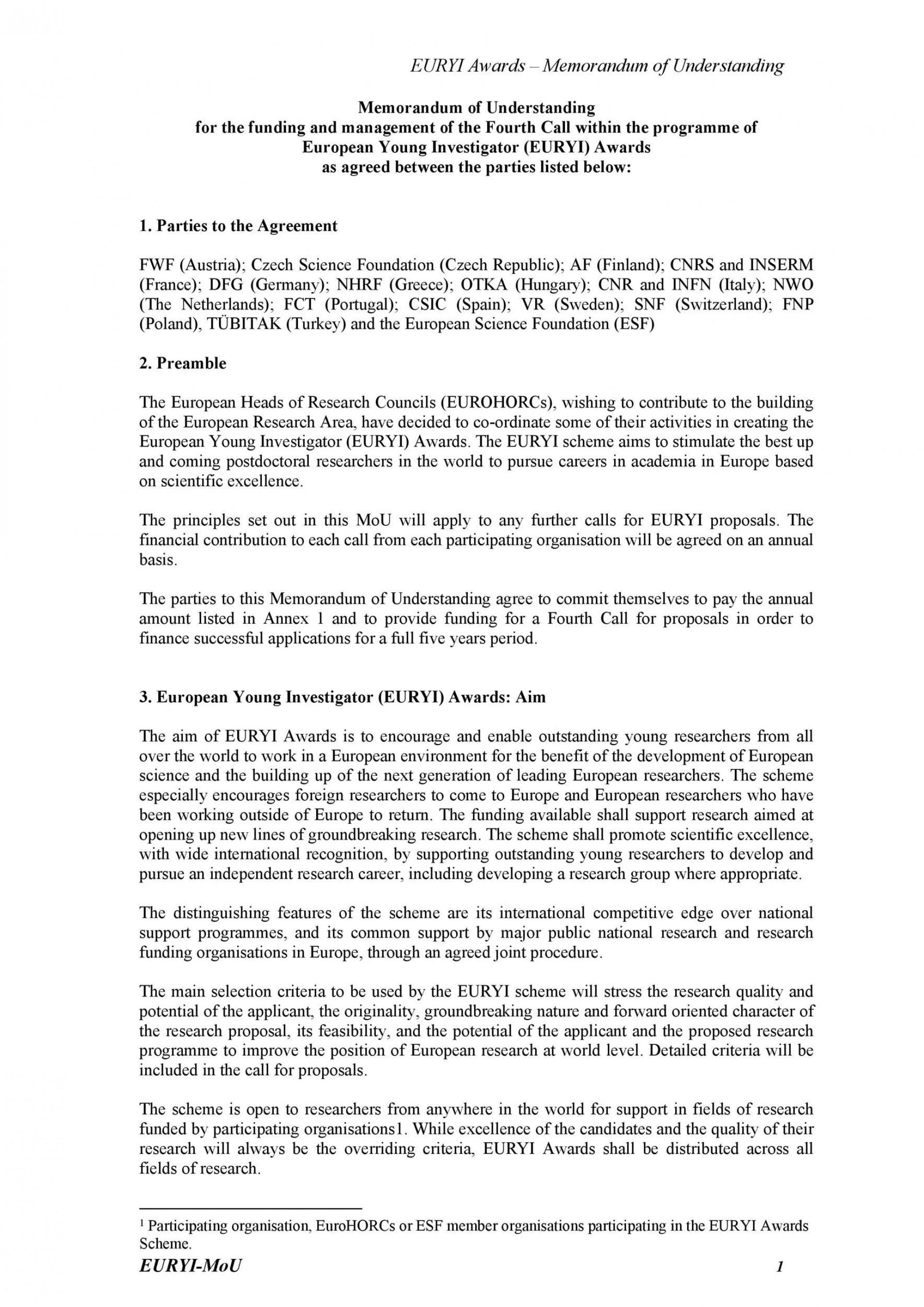 002 Unique Letter Of Understanding Format Design  Sample Memorandum1920
