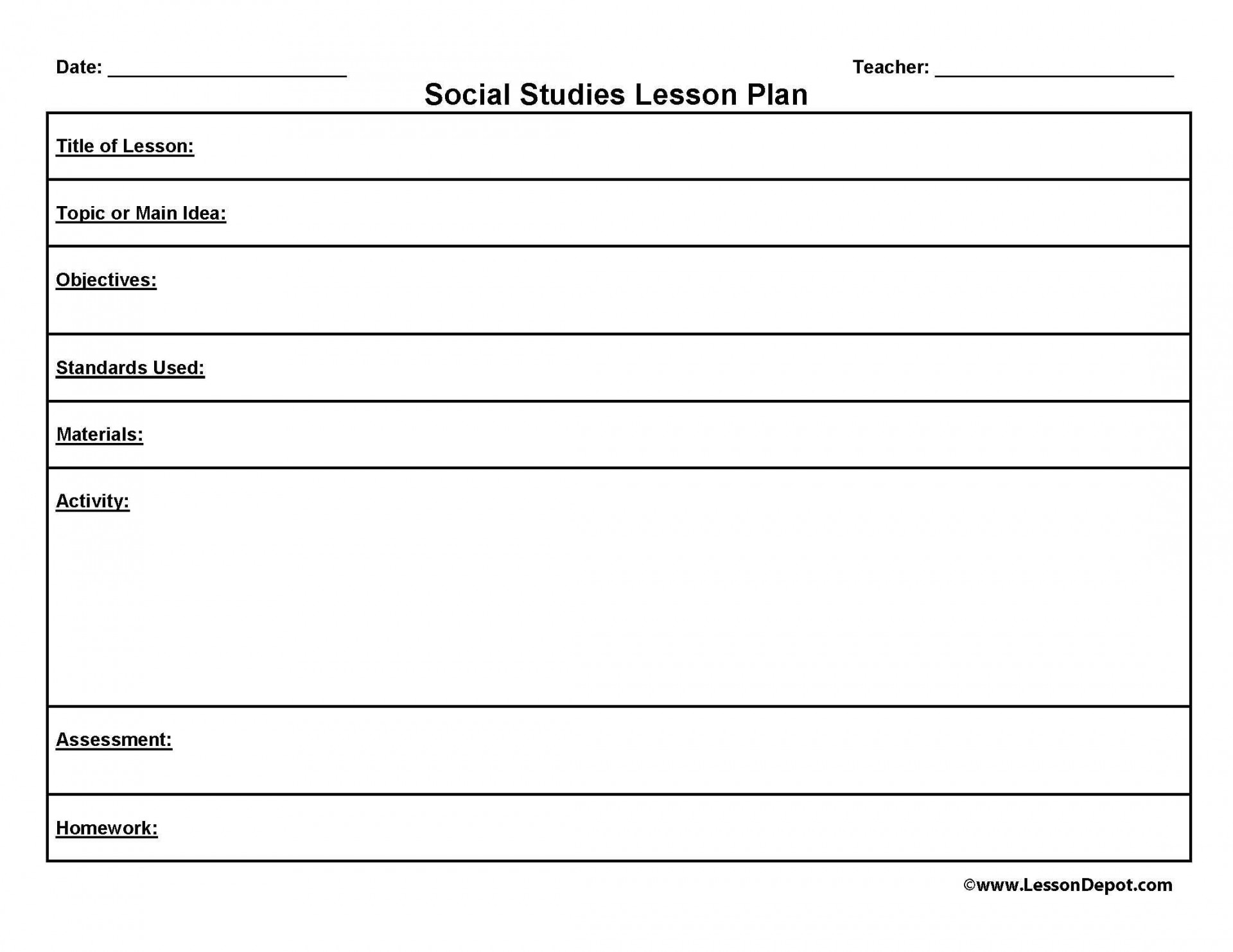 002 Unique Middle School Lesson Plan Template Example  Art For Social Studie1920