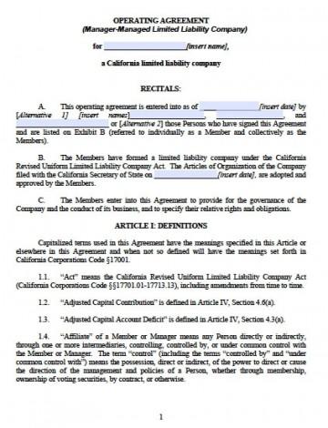 002 Unique Operation Agreement Llc Template Design  Operating Florida Indiana Single Member California360