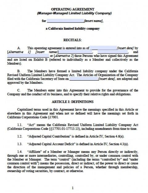 002 Unique Operation Agreement Llc Template Design  Operating Florida Indiana Single Member California480