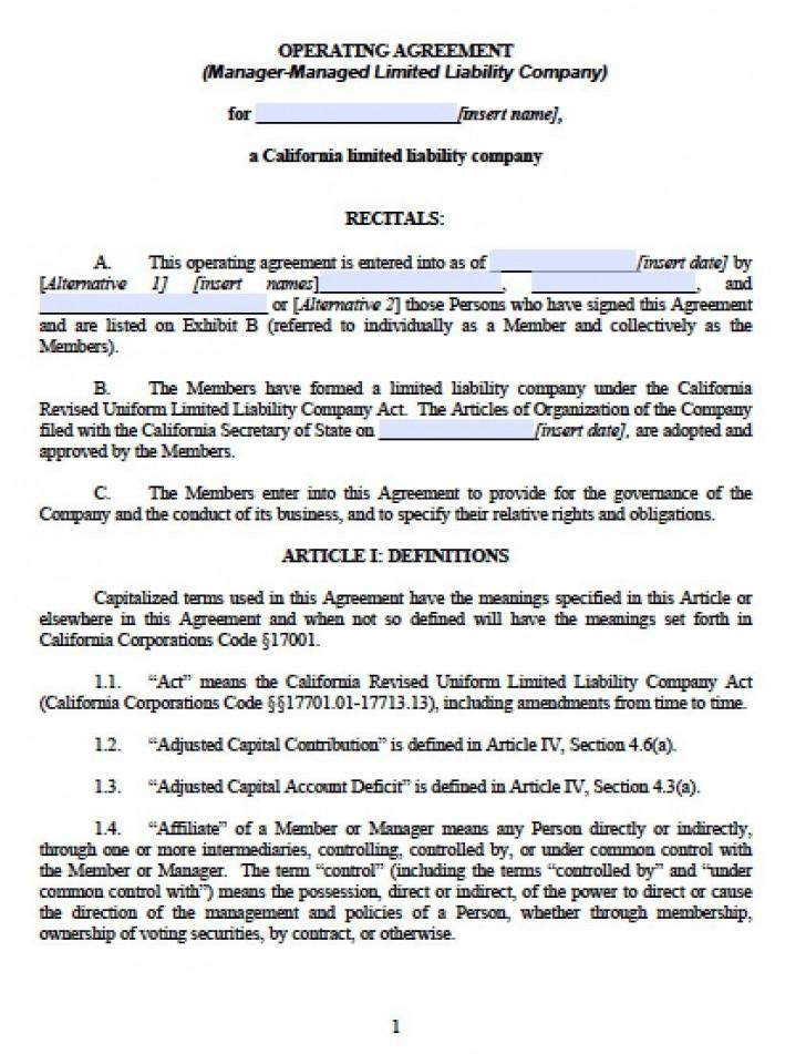 002 Unique Operation Agreement Llc Template Design  Operating Florida Indiana Single Member California728
