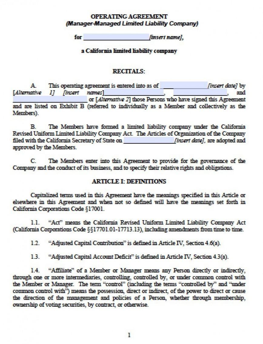 002 Unique Operation Agreement Llc Template Design  Operating Florida Indiana Single Member California868