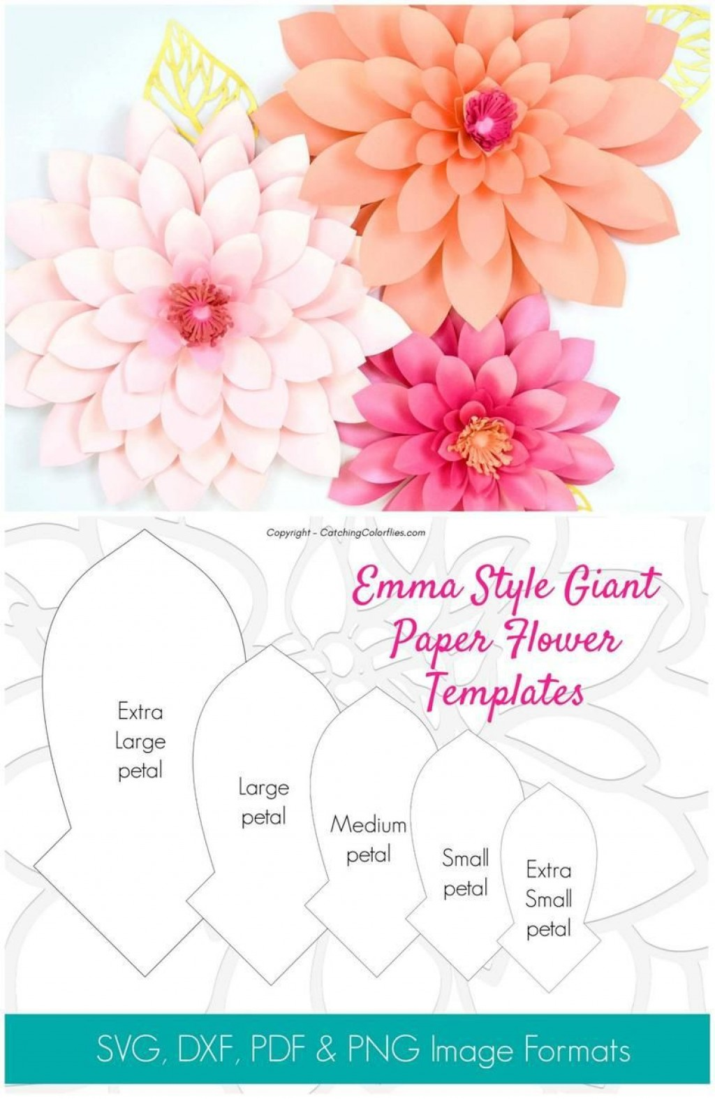 002 Unique Paper Flower Template Free Design  Large Extra PrintableLarge