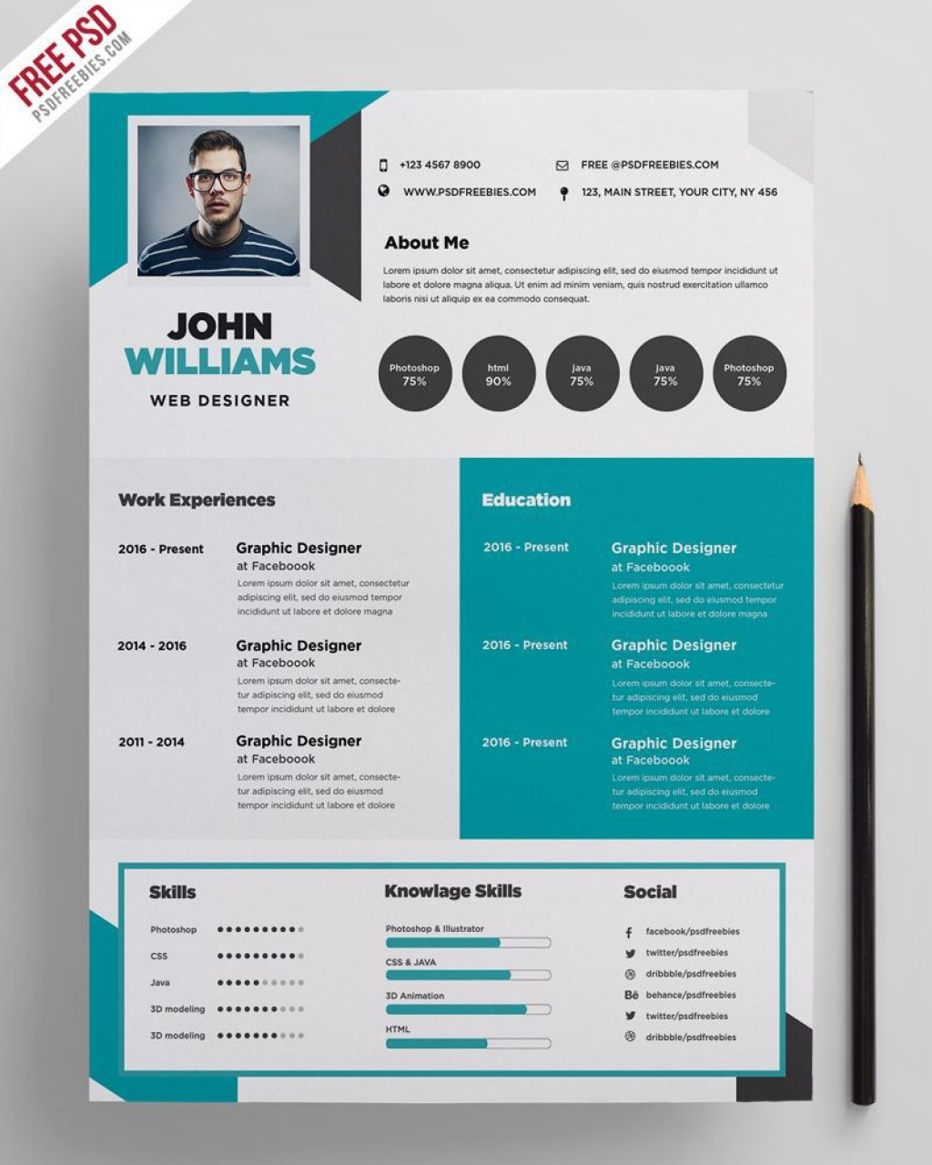002 Unique Photoshop Cv Template Free Download Idea  Creative Resume Psd AdobeLarge