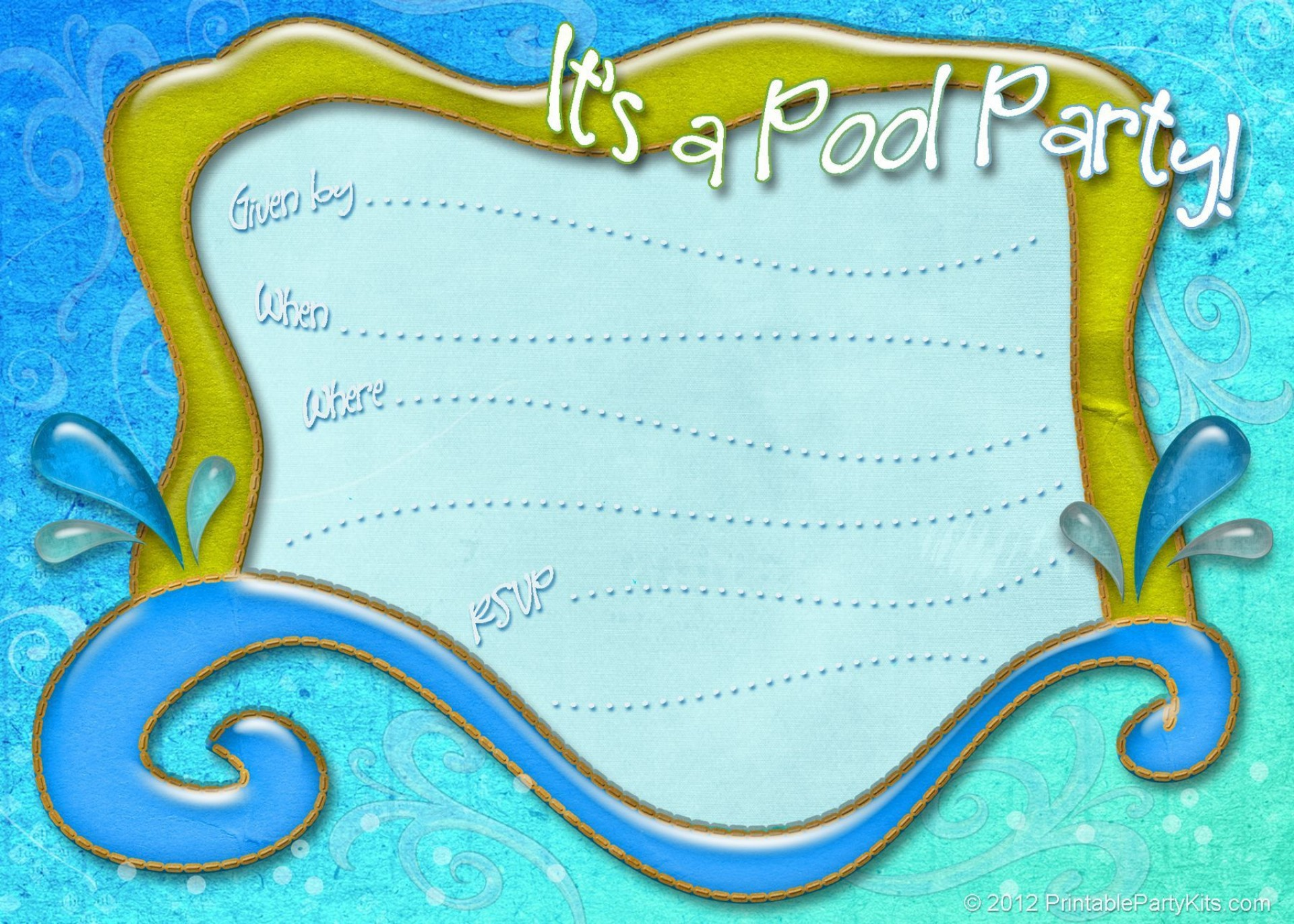 002 Unique Pool Party Invitation Template Free Sample  Downloadable Printable Swimming1920