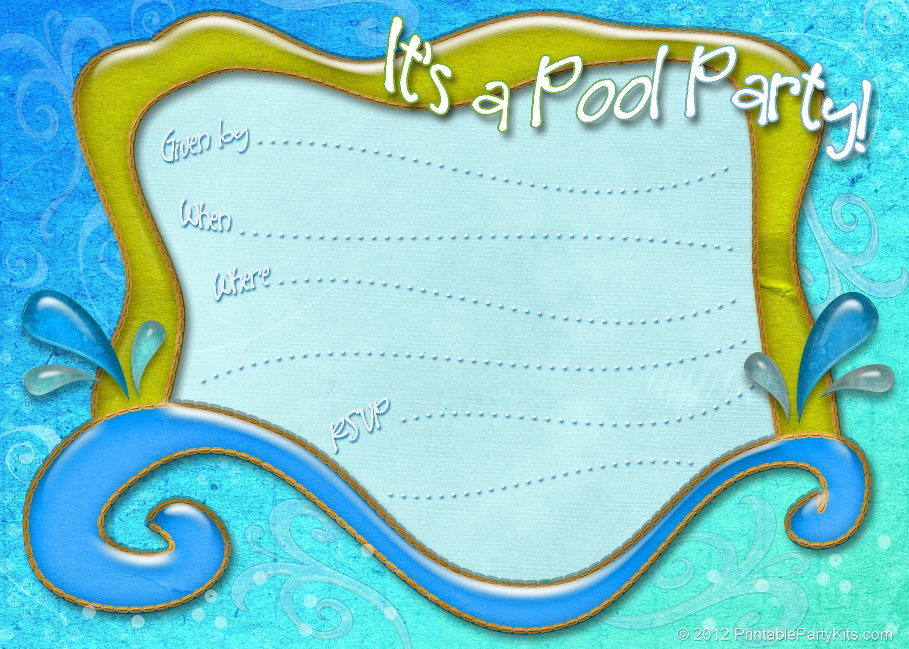 002 Unique Pool Party Invitation Template Free Sample  Downloadable Printable SwimmingFull
