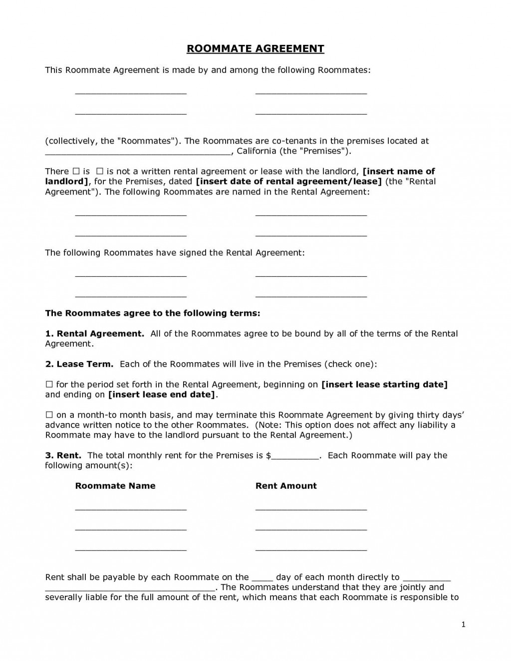 002 Unique Roommate Rental Agreement Template Highest Quality  Form Free ContractLarge