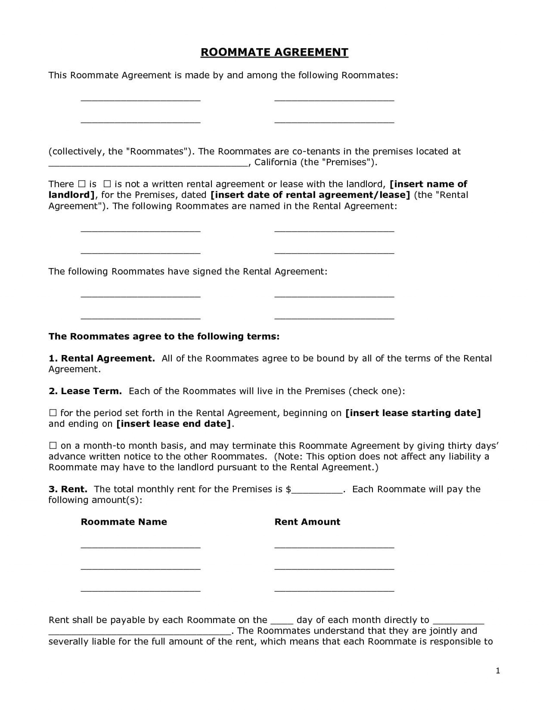 002 Unique Roommate Rental Agreement Template Highest Quality  Form Free Contract1920
