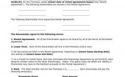 002 Unique Roommate Rental Agreement Template Highest Quality  Form Free Contract
