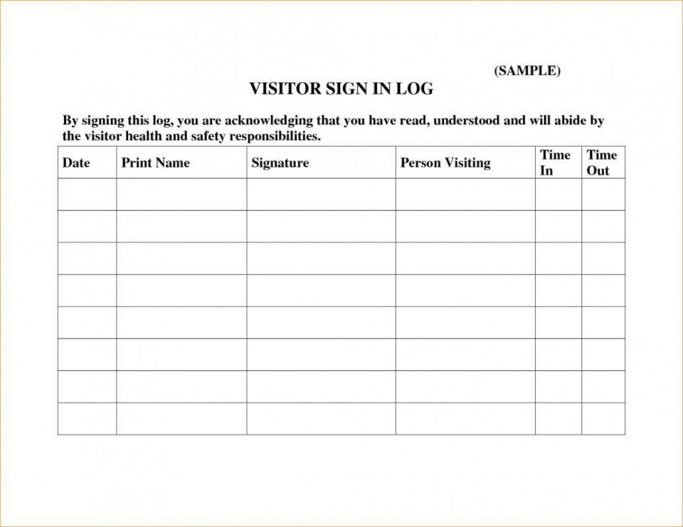002 Unique Visitor Sign In Sheet Template Printable Highest Clarity  Free960