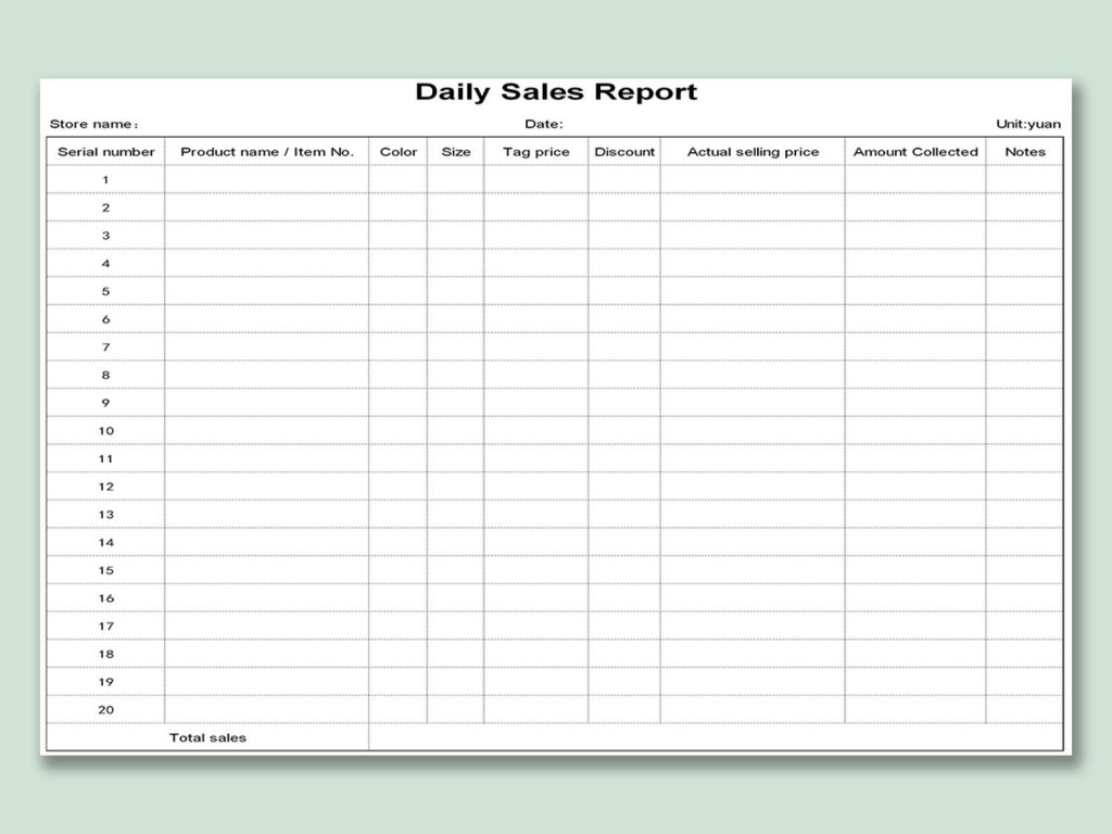 002 Unique Weekly Sale Report Template Highest Clarity  Free Download Call Example XlLarge
