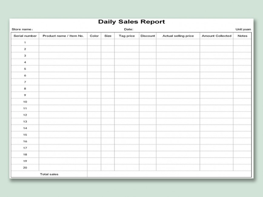 002 Unique Weekly Sale Report Template Highest Clarity  Free Download Call Example Xl868