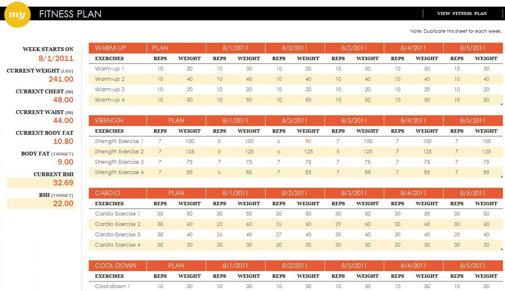002 Unique Workout Schedule Template Excel Sample  Training Plan Download Weekly Planner1920