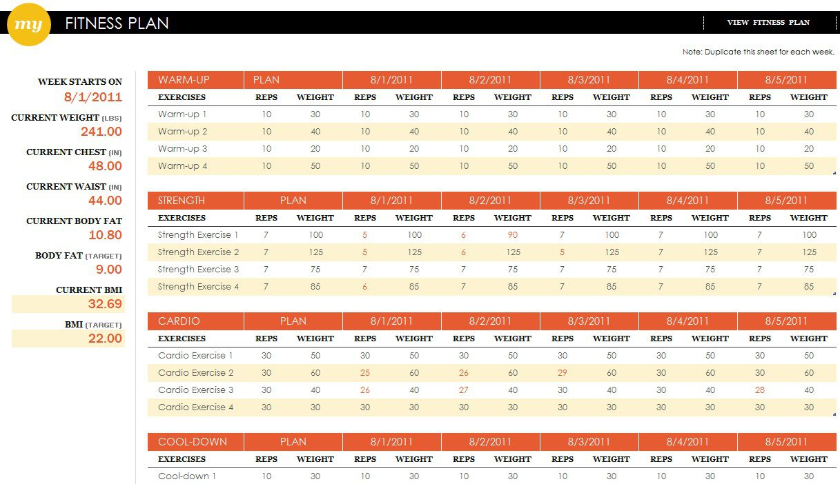 002 Unique Workout Schedule Template Excel Sample  Training Plan Download Weekly PlannerFull