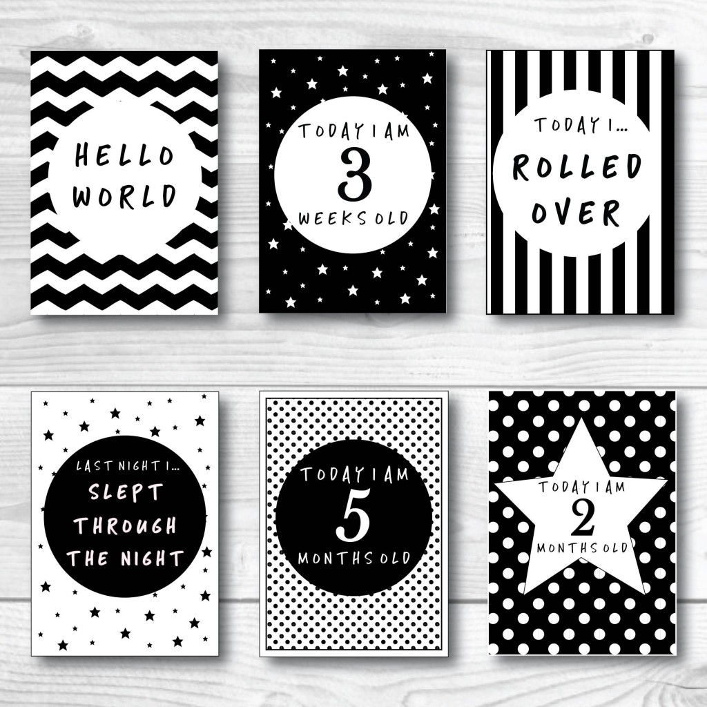 002 Unusual Baby Shower Card Printable Black And White High Resolution Large