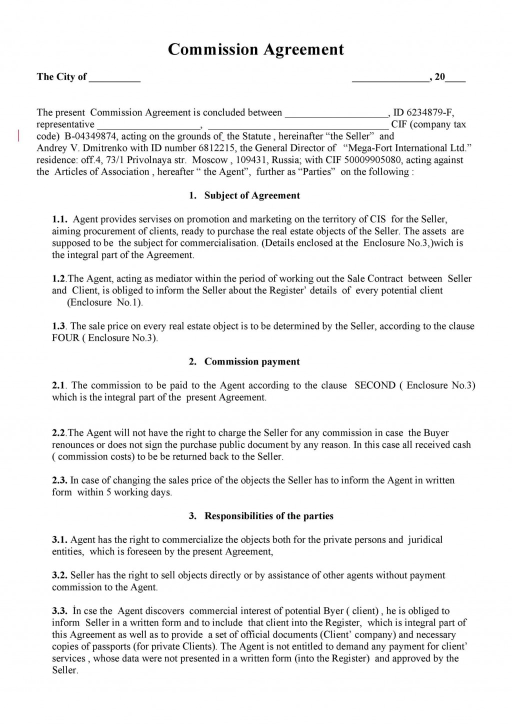 002 Unusual Commission Sale Agreement Template Free Concept  Word InternationalLarge