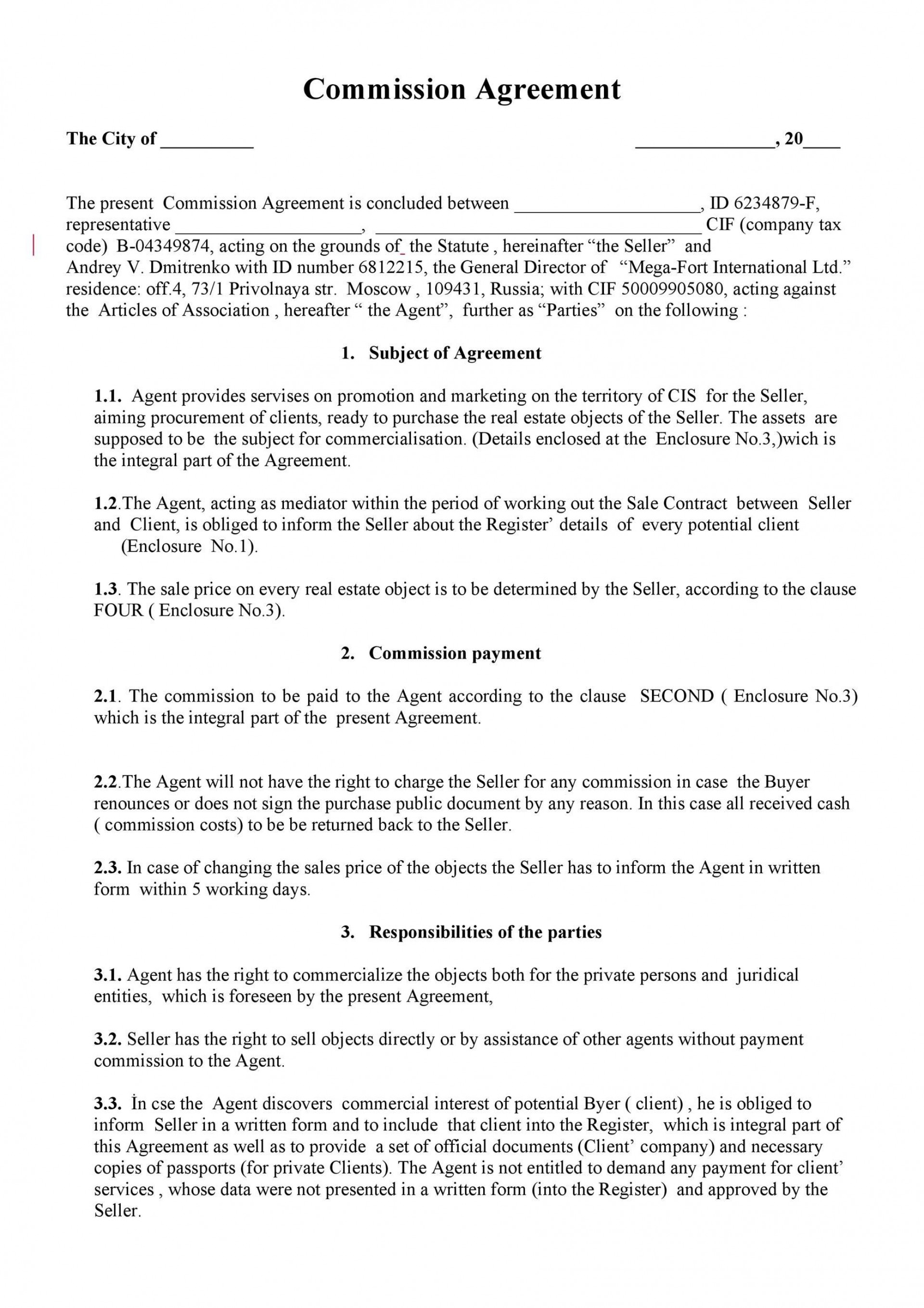 002 Unusual Commission Sale Agreement Template Free Concept  Word International1920