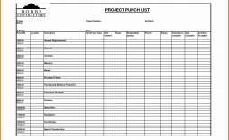 002 Unusual Construction Punch List Template Xl Sample  Xls