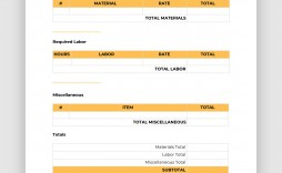 002 Unusual Contractor Bid Sheet Template Highest Quality  General Electrical