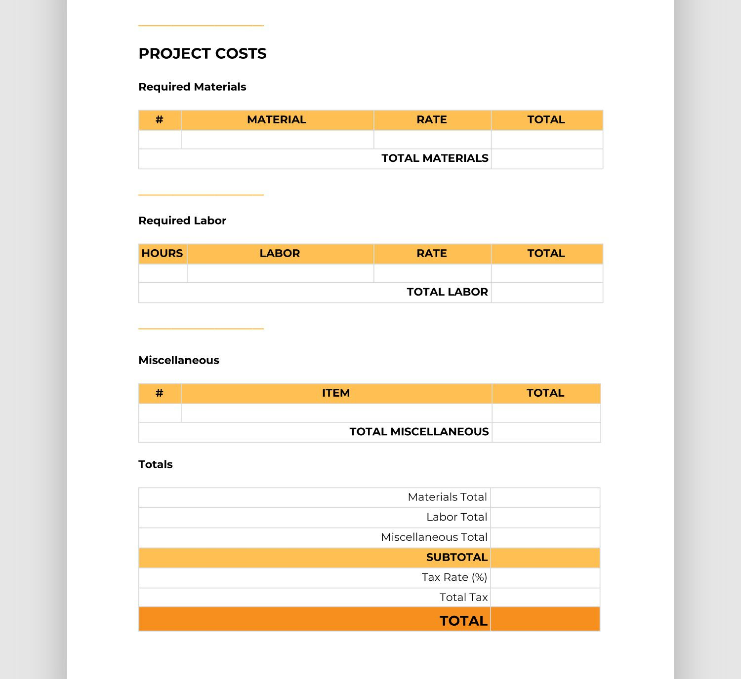 002 Unusual Contractor Bid Sheet Template Highest Quality  General ElectricalFull