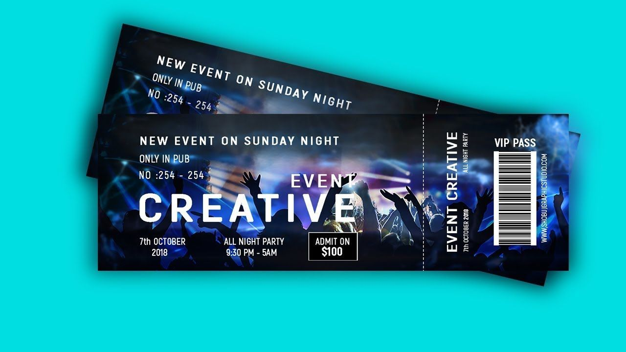 002 Unusual Event Ticket Template Photoshop High Def  Design Psd Free DownloadFull