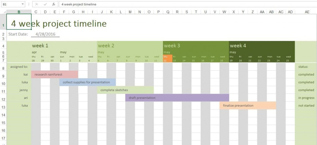 002 Unusual Excel Project Timeline Template Free Idea  Simple Xl 2010 DownloadLarge