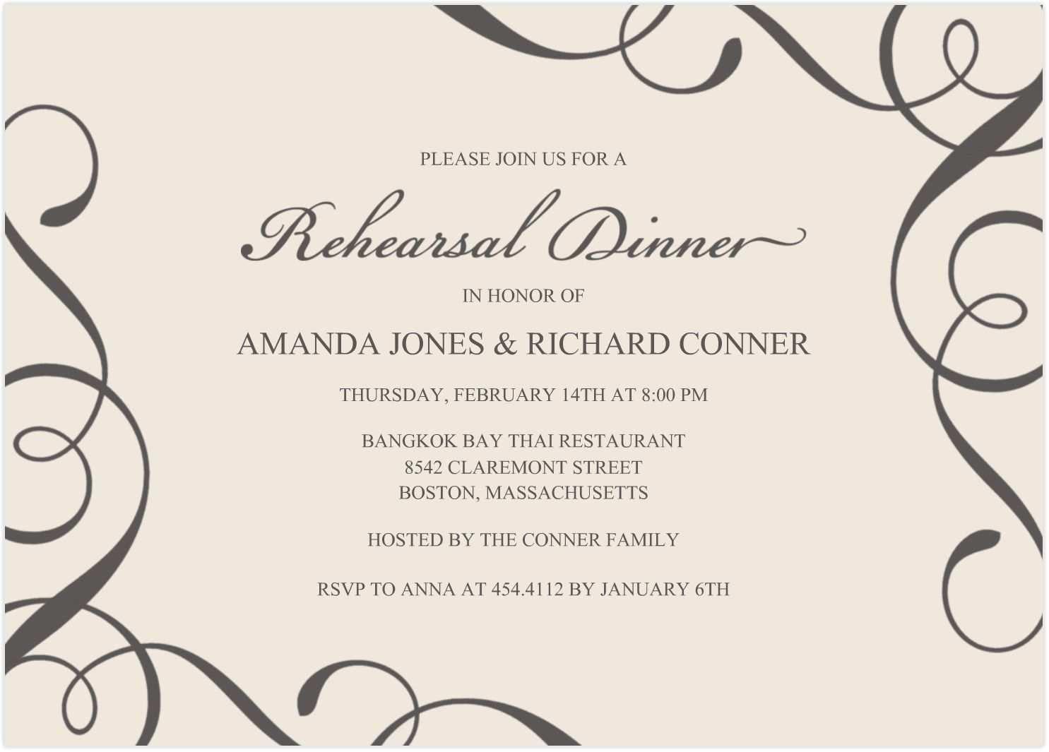 002 Unusual Free Dinner Invitation Template Picture  Templates Rehearsal Printable Italian ThanksgivingFull