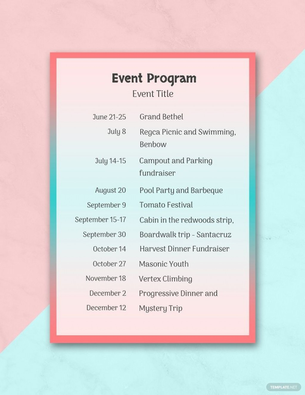 002 Unusual Free Event Program Template High Definition  Schedule Psd WordLarge