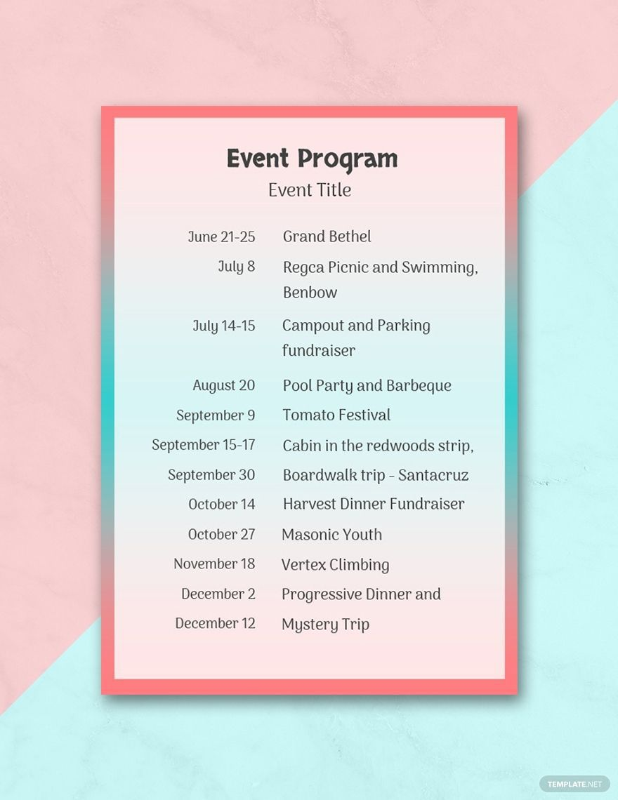 002 Unusual Free Event Program Template High Definition  Schedule Psd WordFull
