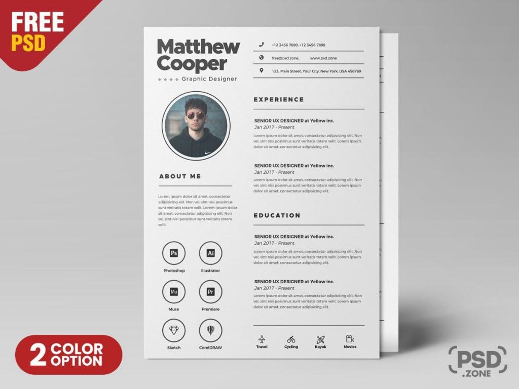 002 Unusual Free Psd Resume Template Design  Templates Attractive Download Creative (psd Id) Curriculum VitaeLarge