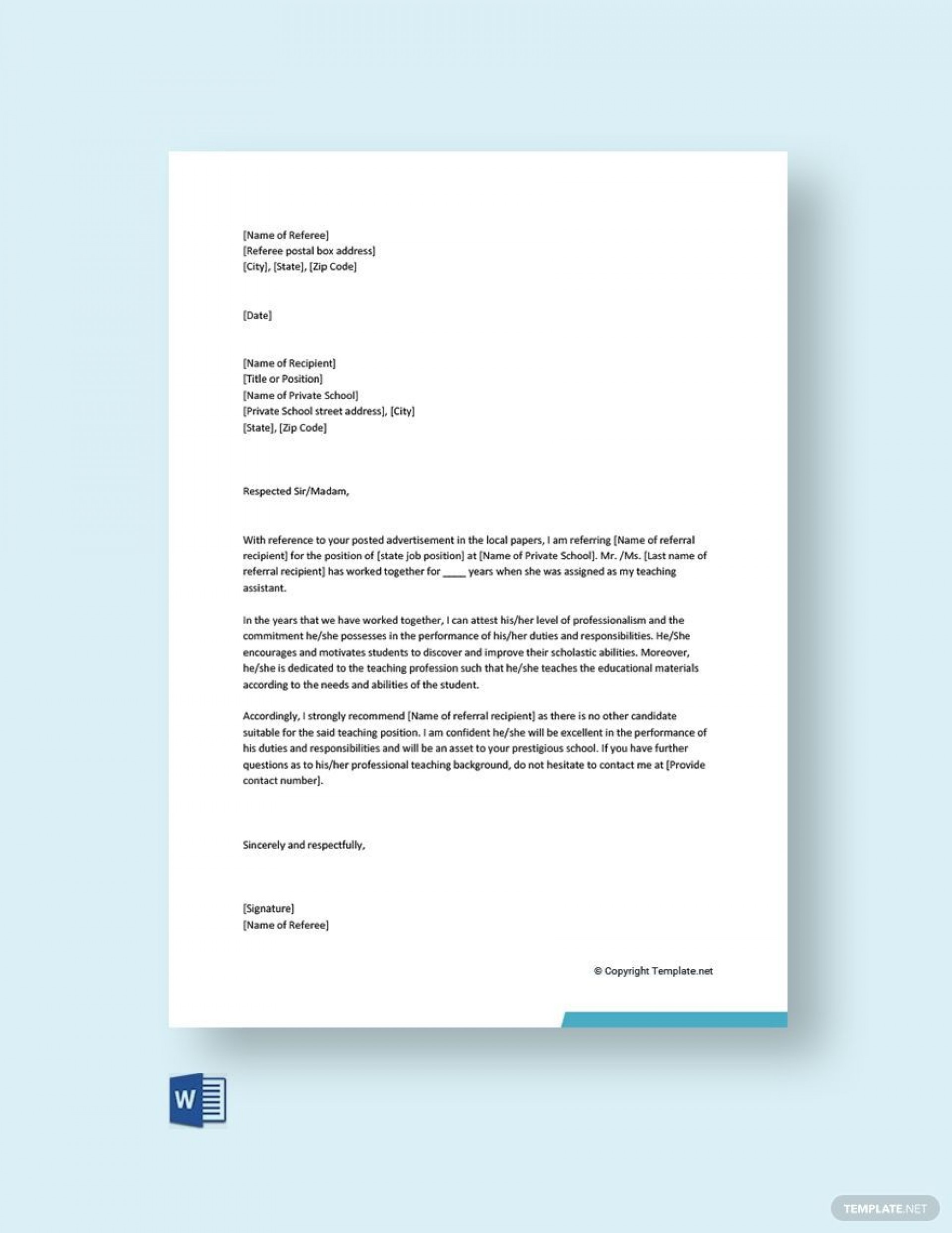 002 Unusual Free Reference Letter Template Download Image 1920
