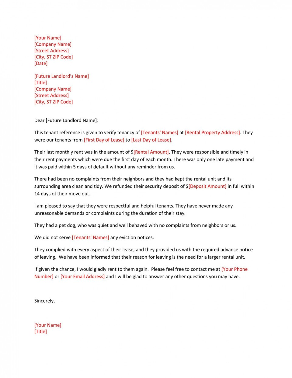 002 Unusual Free Reference Letter Template For Landlord High Def  Rental960