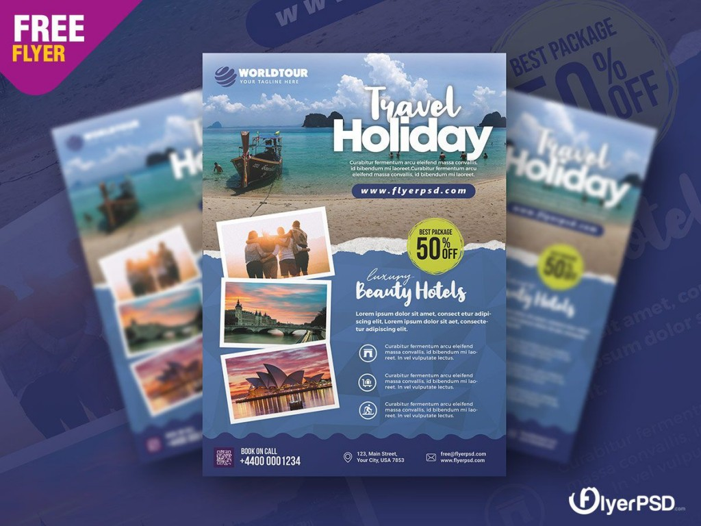 002 Unusual Free Travel Flyer Template Download Concept Large