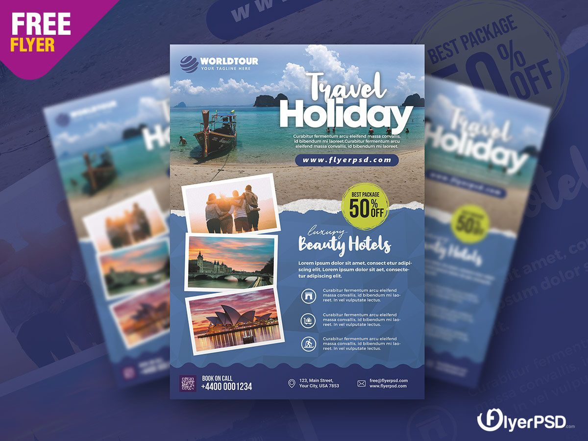 002 Unusual Free Travel Flyer Template Download Concept Full