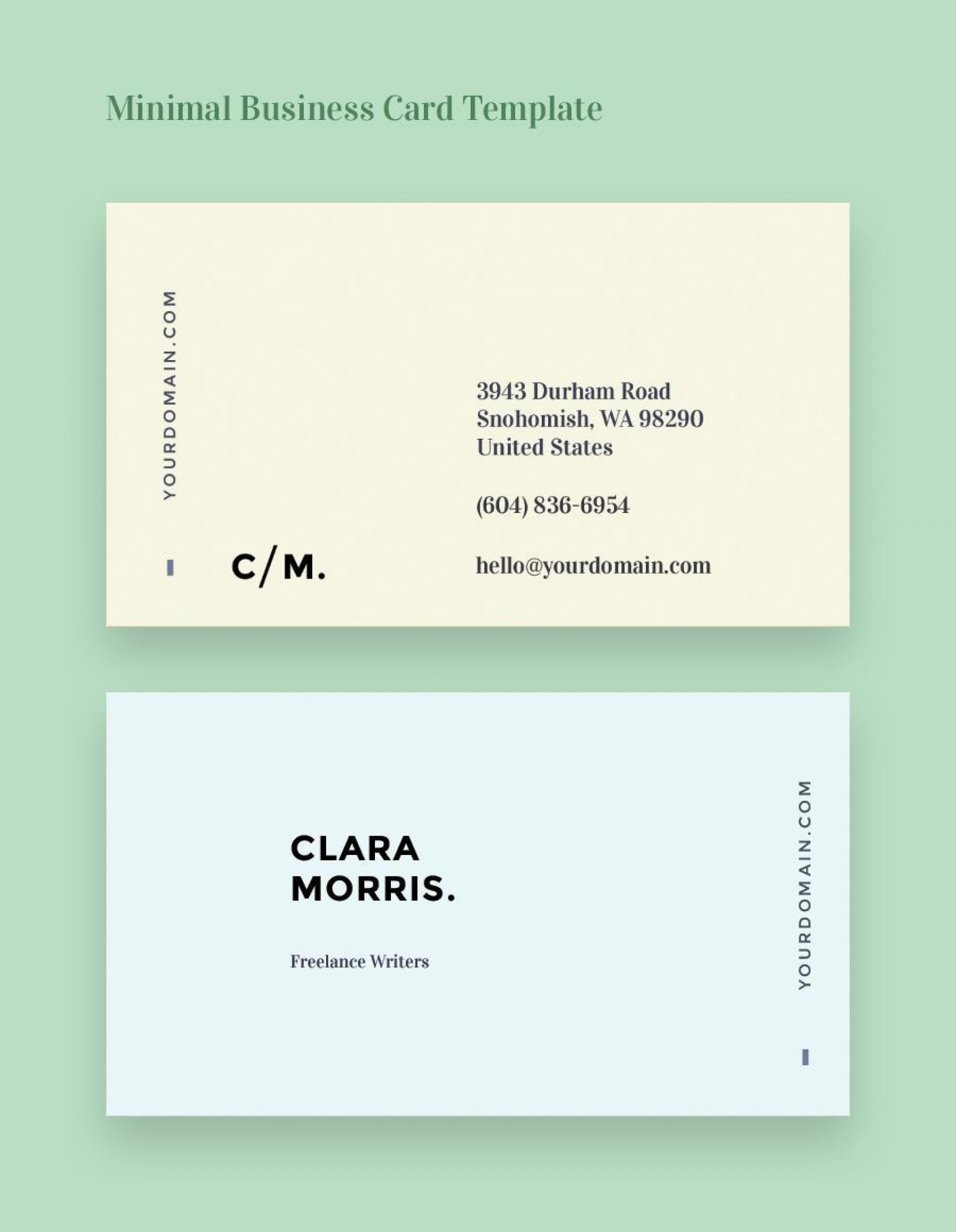 002 Unusual Minimal Busines Card Template Free Idea  Easy Simple Download1920
