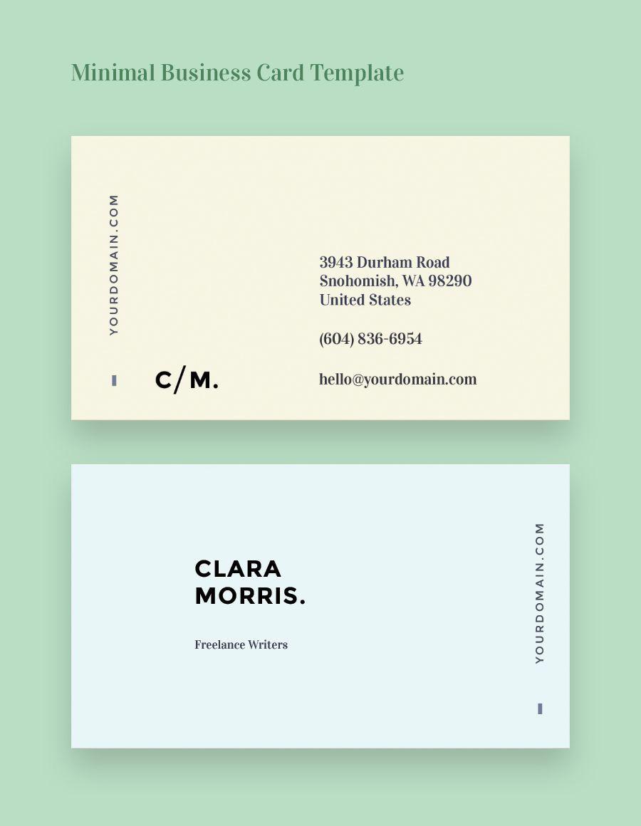 002 Unusual Minimal Busines Card Template Free Idea  Easy Simple DownloadFull