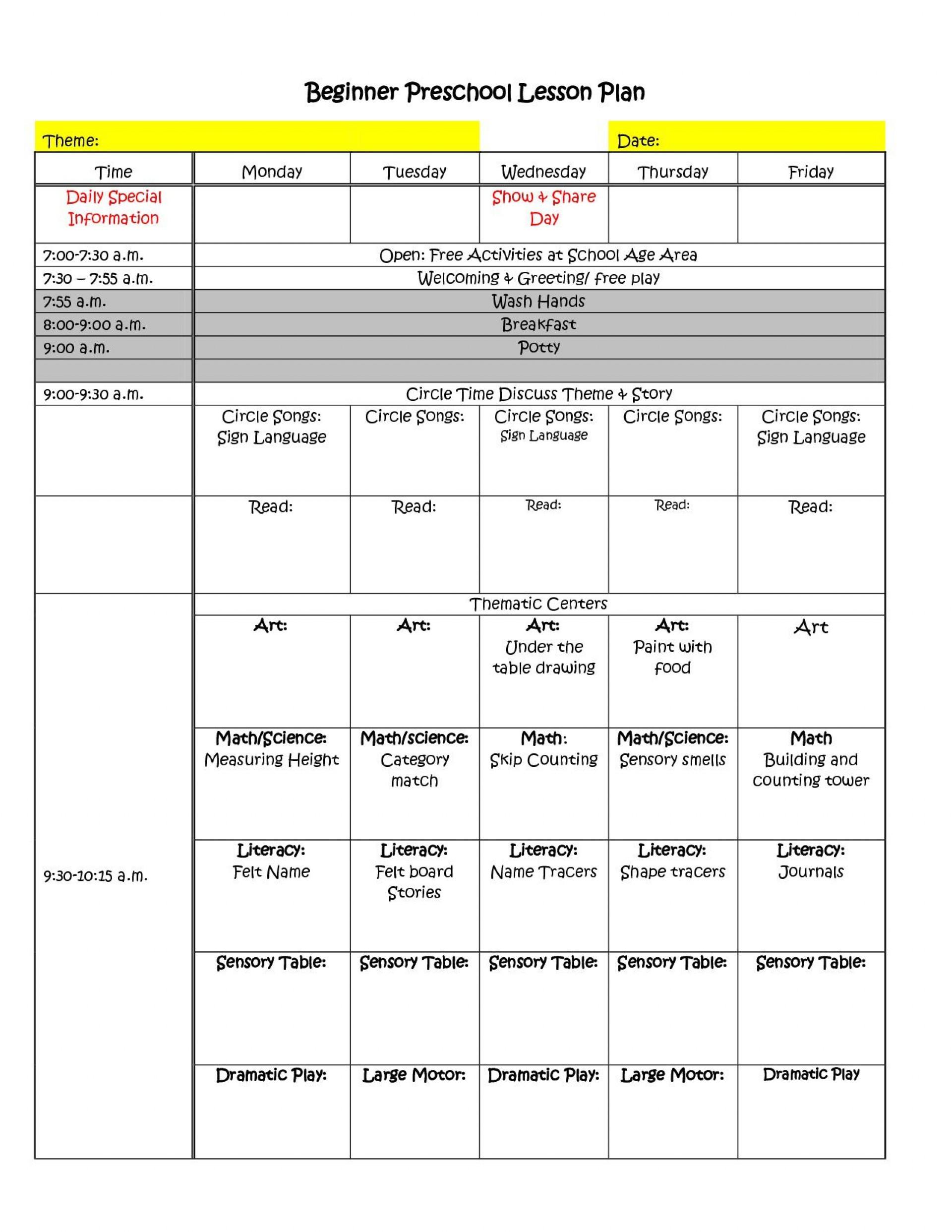 002 Unusual Prek Lesson Plan Template Sample  Free Daycare Pdf Example Of Pre-k1920