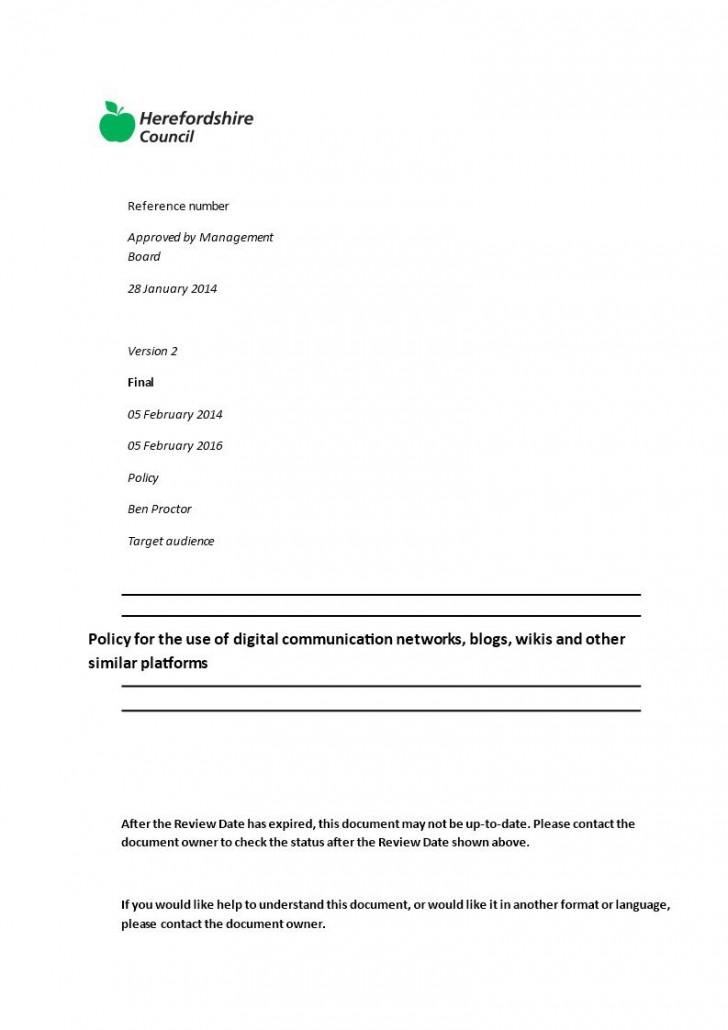 002 Unusual Social Media Policy Template Design  Free728