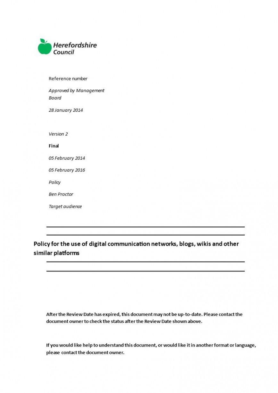 002 Unusual Social Media Policy Template Design  Free868