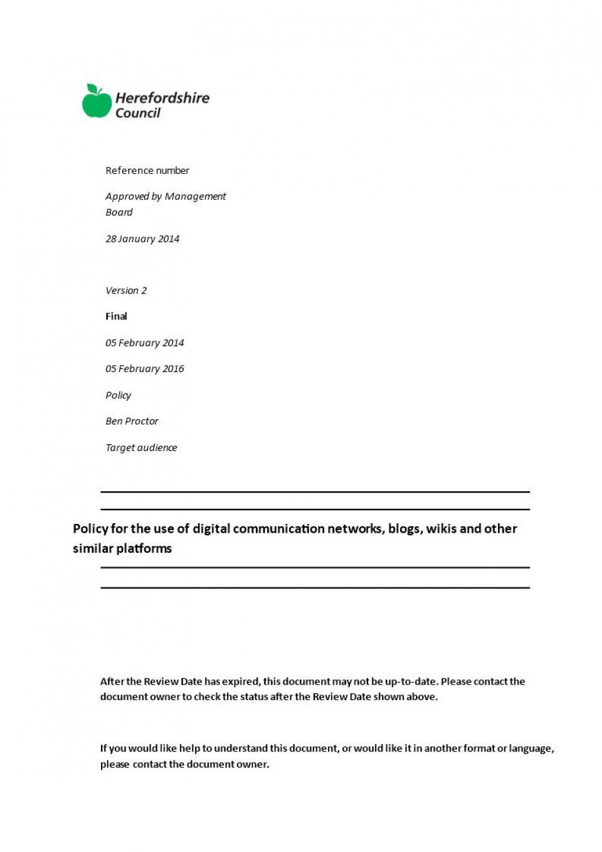 002 Unusual Social Media Policy Template Design  Free960